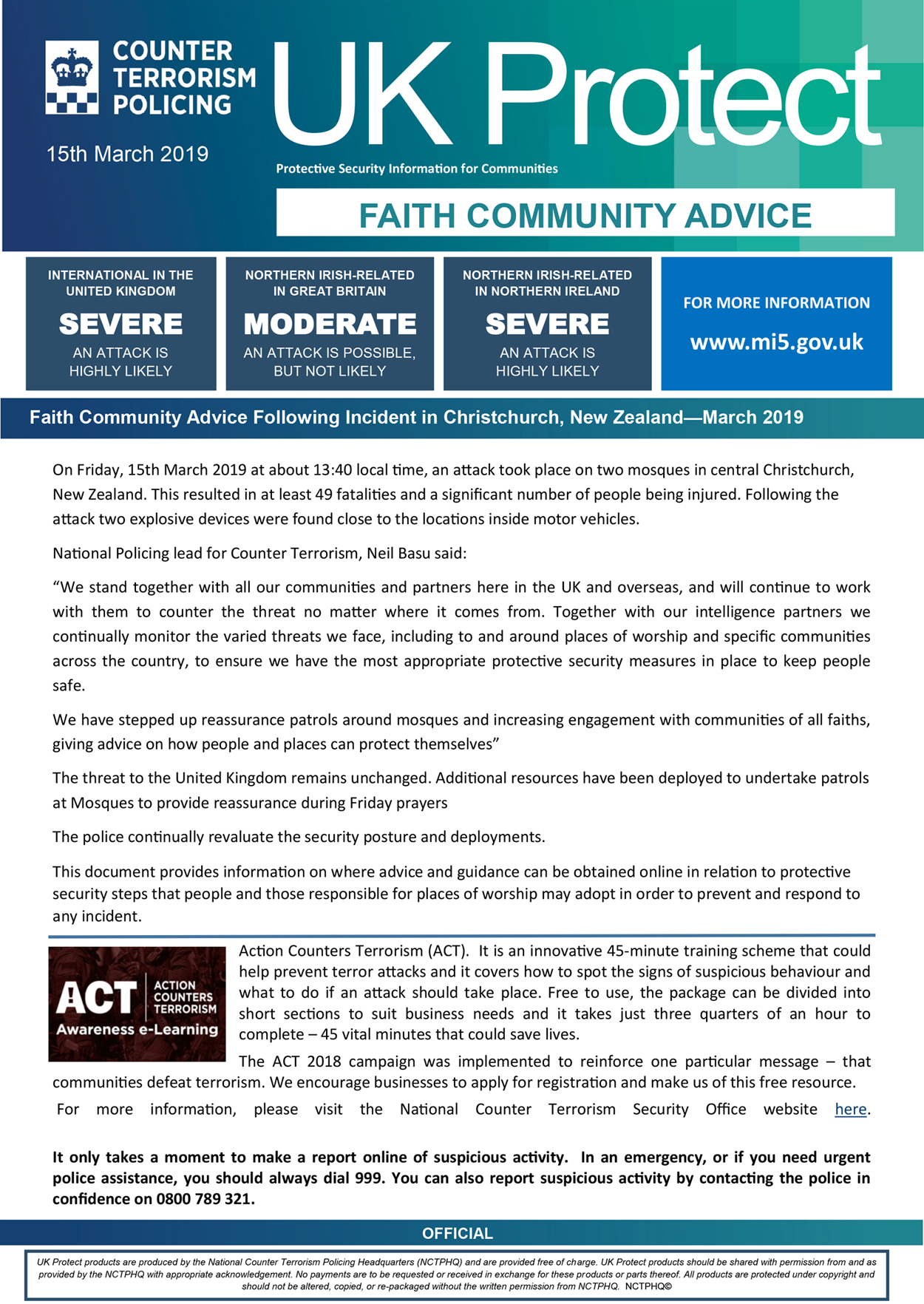 UK Protect - Advice to Faith C